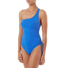 Melissa Odabash LISBON NAVY PIQUE OVER THE SHOULDER KNOT SUPPORTIVE SWIMSUIT