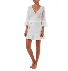 Melissa Odabash VOGUE WHITE SHORT BELTED WRAP DRESS