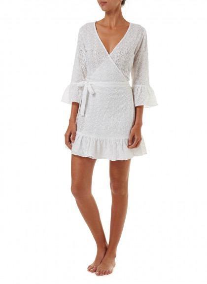 Melissa Odabash VOGUE WHITE SHORT BELTED WRAP DRESS