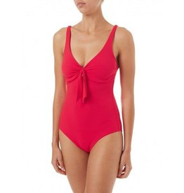 Melissa Odabash LISBON RED PIQUE OVER THE SHOULDER KNOT SUPPORTIVE SWIMSUIT