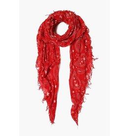 Chan Luu Chan Luu Pompeian Red Paisley Cashmere And Silk Scarf