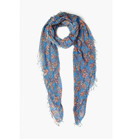 Chan Luu Chan Luu Palace Blue Painterly Floral Cashmere And Silk Scarf