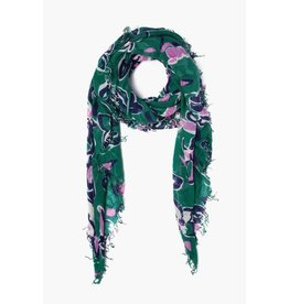 Chan Luu Chan Luu Verdant Green Painterly Floral Cashmere And Silk Scarf
