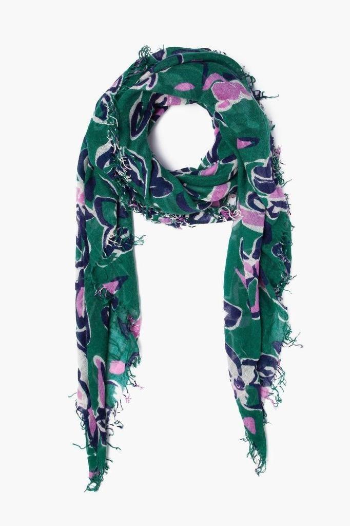 Chan Luu Chan Luu Verdant Green Painterly Floral Cashmere And Silk Scarf