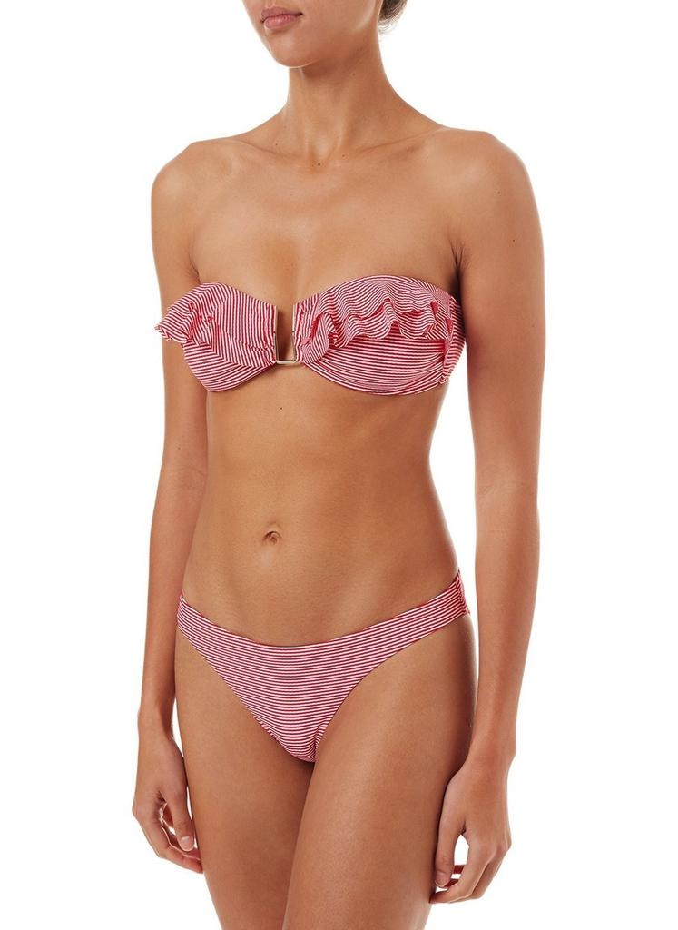 Melissa Odabash Melissa Odabash St. Kitts Red Gingham Bandeau U-Trim Frill Bikini