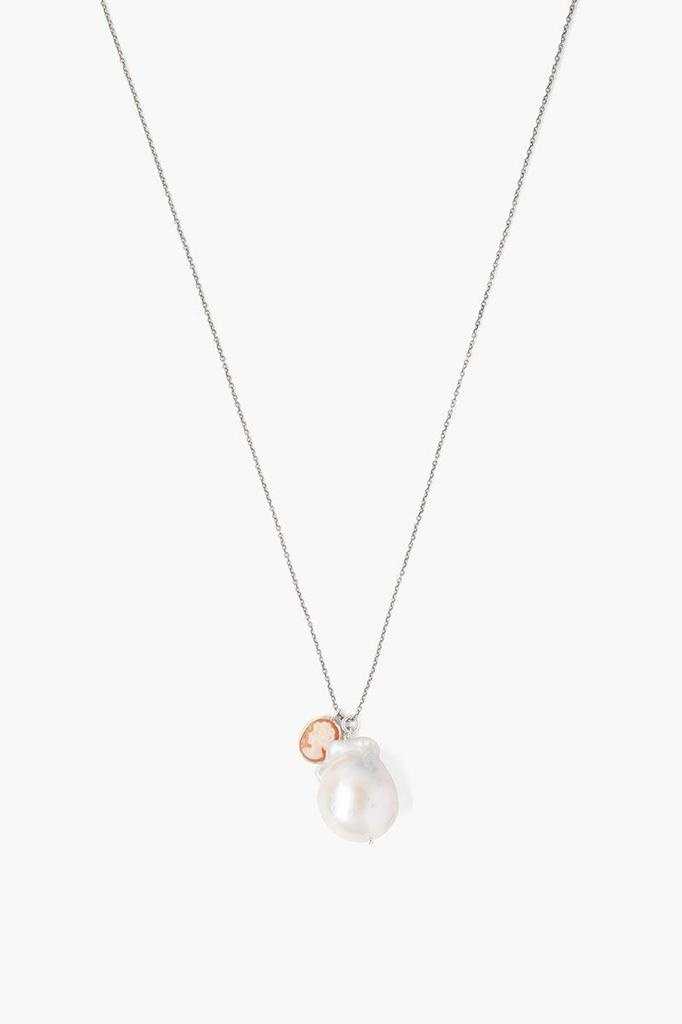 Chan Luu White Baroque Pearl And Cameo Charm Necklace