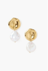 Chan Luu 18K White Pearl and Gold Earrings
