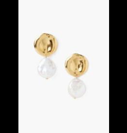 Chan Luu 18K White Pearl and Gold Earrings