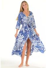 Walker & Wade Walker & Wade Kelsey Long Dress Ikat Indigo