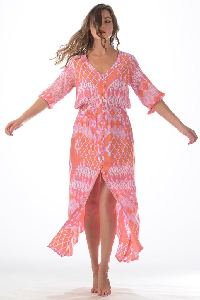 Walker & Wade Walker & Wade Ikat Kelsey Dress Flamingo