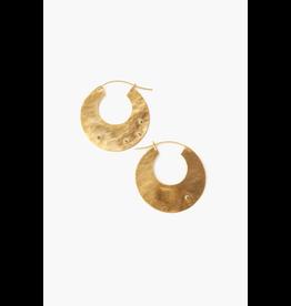 Chan Luu Chan Luu Gold Disc Champagne Diamond Hammered Hoop Earrings