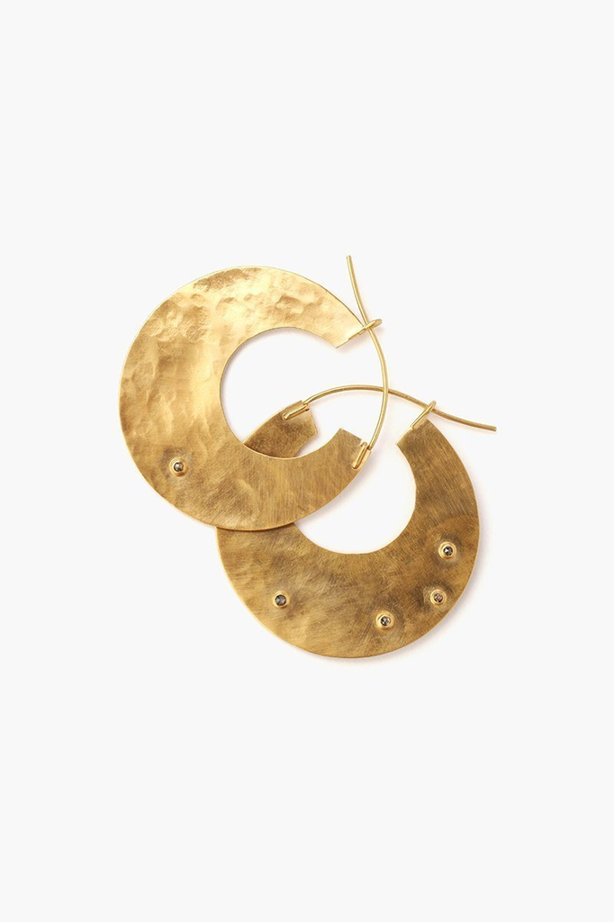Chan Luu Chan Luu Gold Disc Champagne Diamond Hammered Hoop Earrings