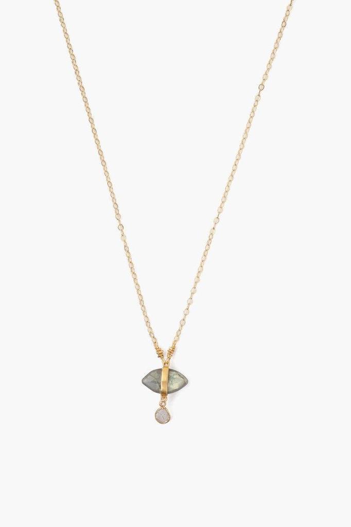 Chan Luu Chan Luu Labradorite Evil Eye And Sliced Diamond Charm Necklace