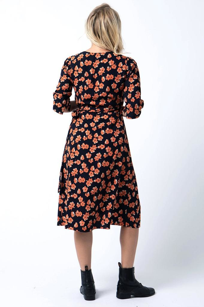 Cameo Wrap dress in Orange floral<br /> Wrap dress in Orange floral