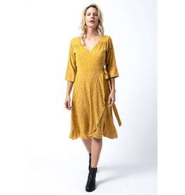 Cameo Wrap dress in Gold polka<br /> Wrap dress in Orange floral
