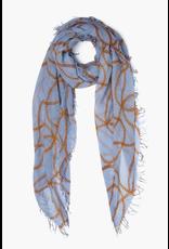 Chan Luu Dusty Blue Vintage Chain Cashmere And Silk Scarf