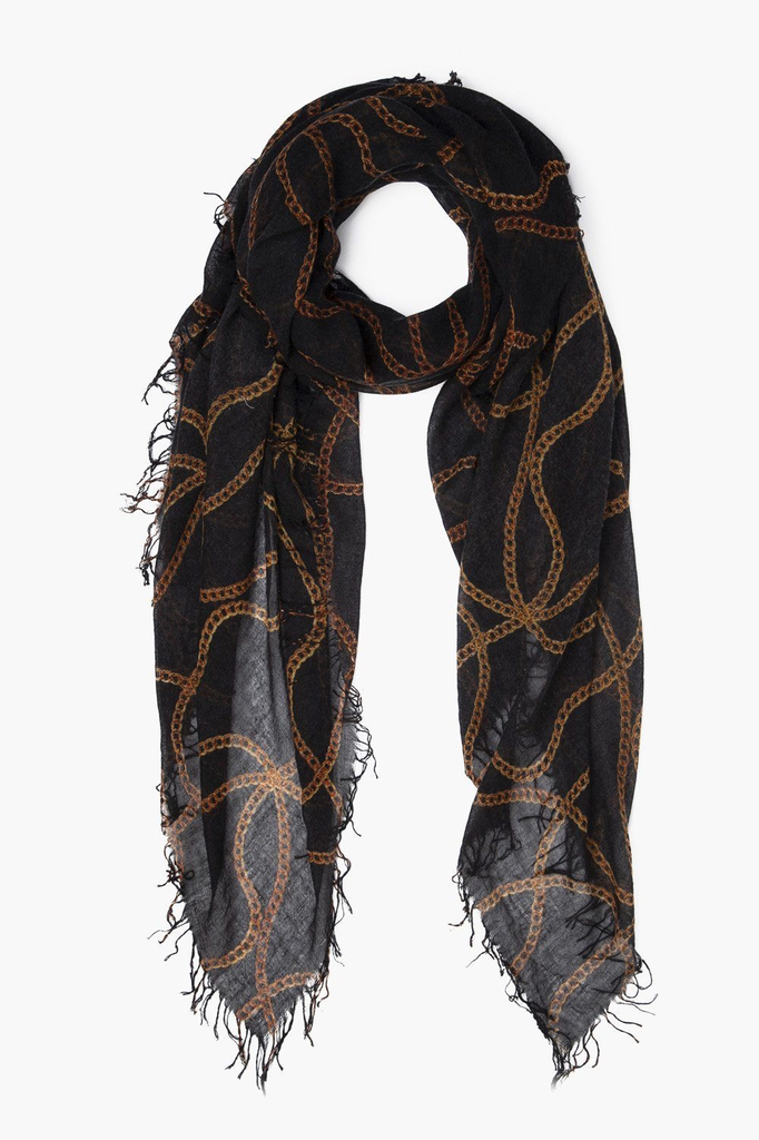 Chan Luu Black Vintage Chain Cashmere And Silk Scarf