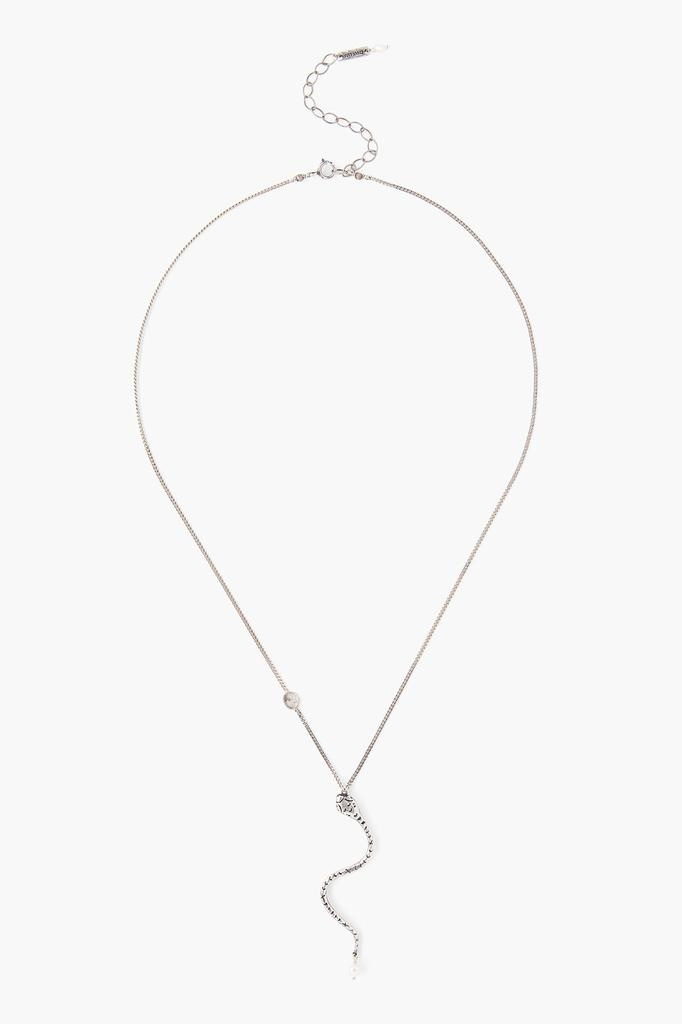 Chan Luu Chan Luu Silver snake with pearl and diamond sliver necklace