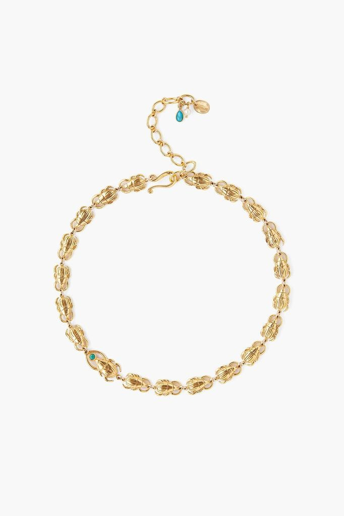 Chan Luu Chan Luu 18k gold plated over sterlng silver with semi precious stones scarab necklace