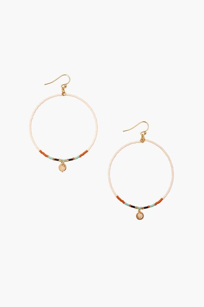 Chan Luu Chan Luu semi precious stones hoop earrings cream Mix