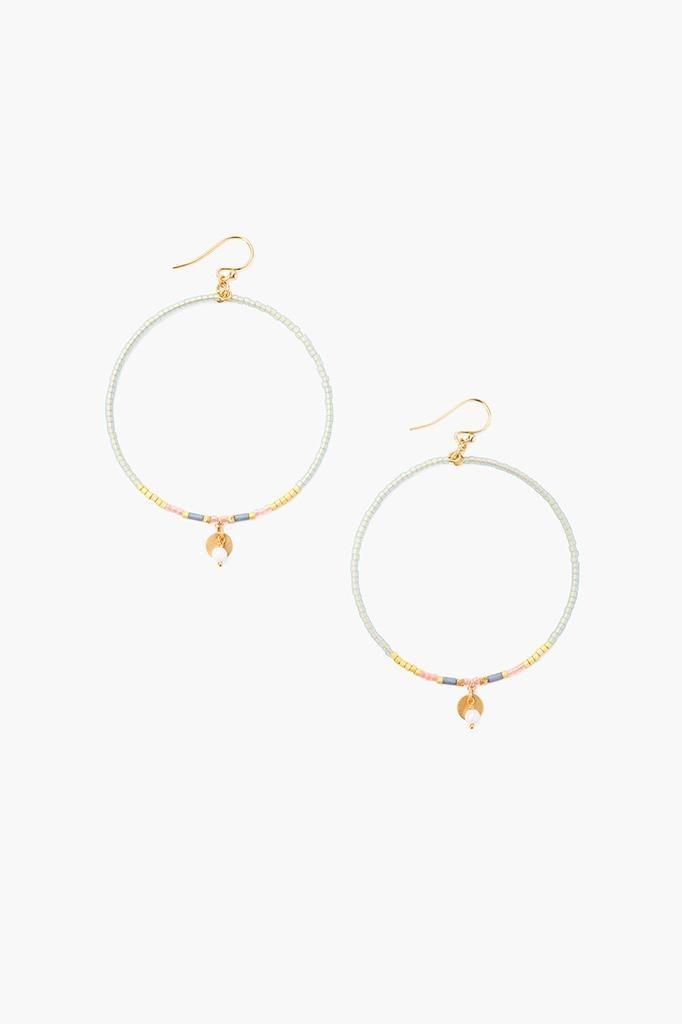 Chan Luu Chan Luu semi precious stones hoop earrings Green Mix