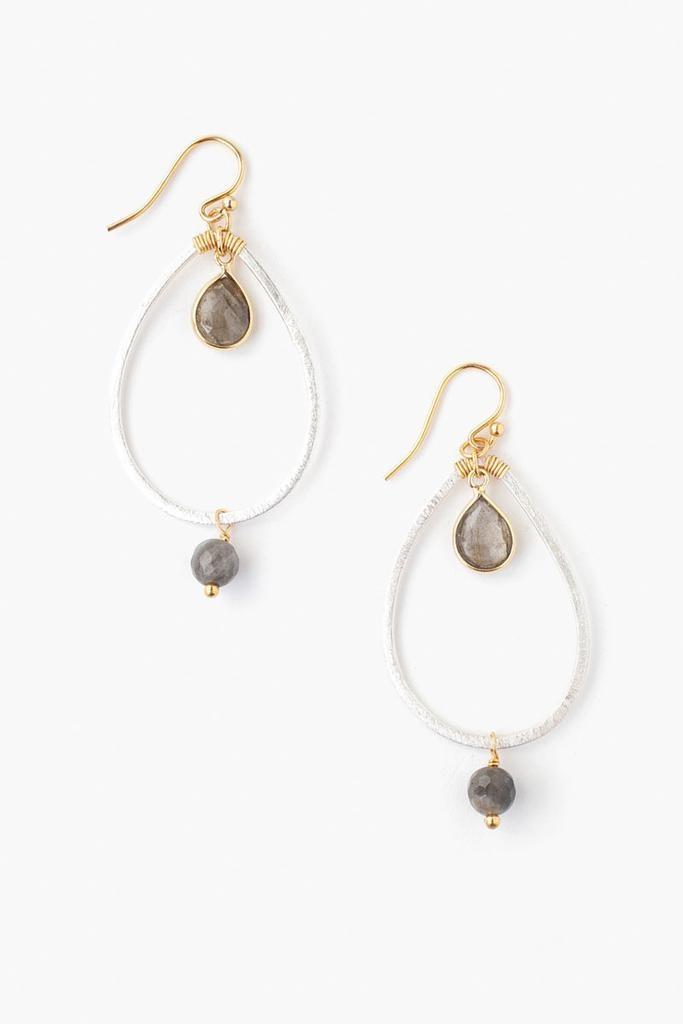 Chan Luu Chan Luu semi precious stones hoop earrings silver and gold with Labradorite