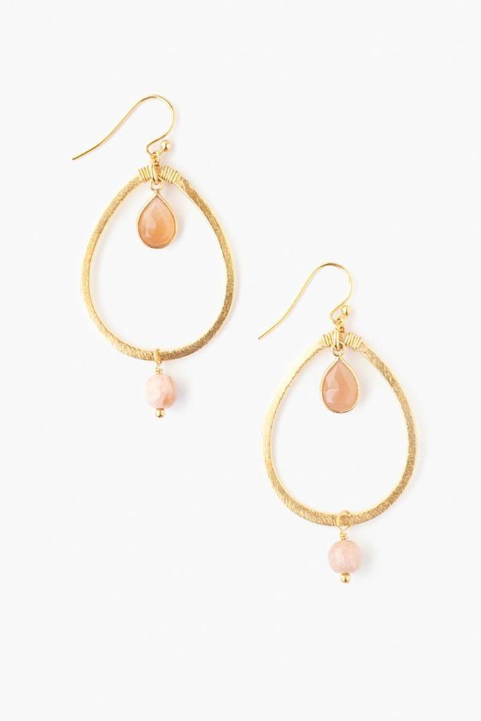 Chan Luu Chan Luu semi precious stones hoop earrings gold with sunstone