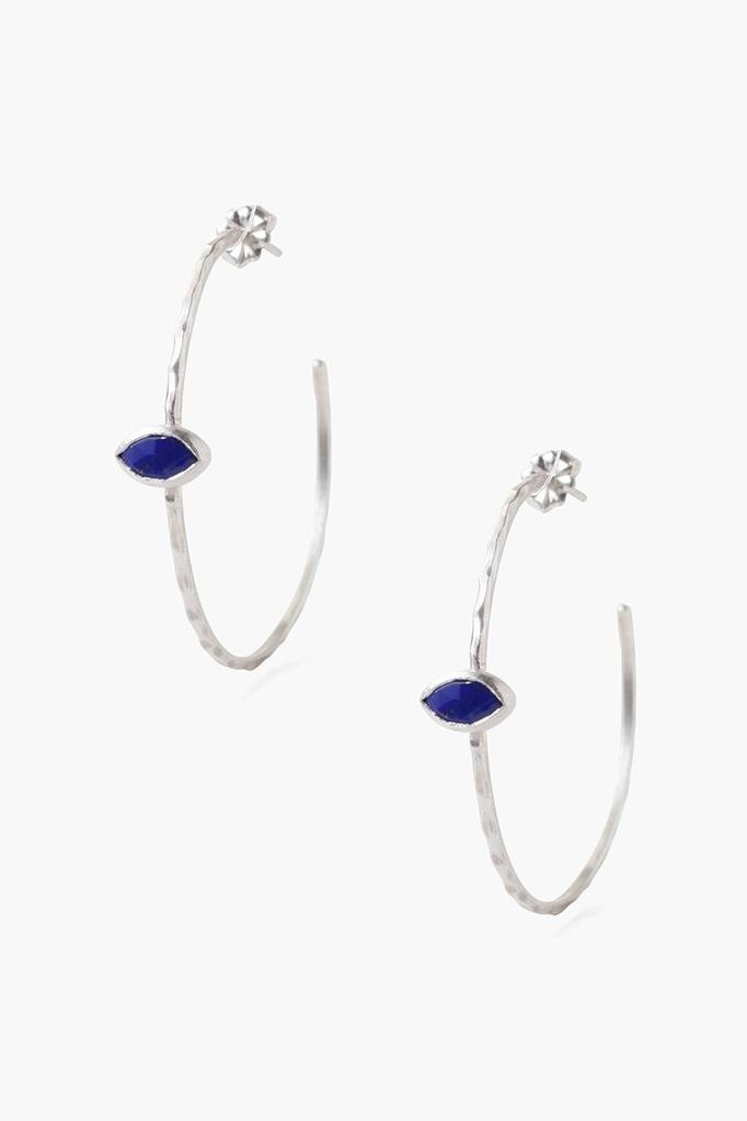Chan Luu Chan Luu semi precious stones silver hoop earrings with lapiz