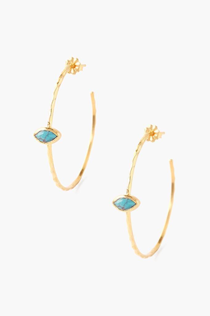 Chan Luu Chan Luu semi precious stones silver hoop earrings with lapiz