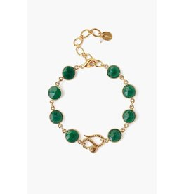 Chan Luu Chan Luu 18K gold plated over sterling silver gold adjustable bracelet with semi-precious stones