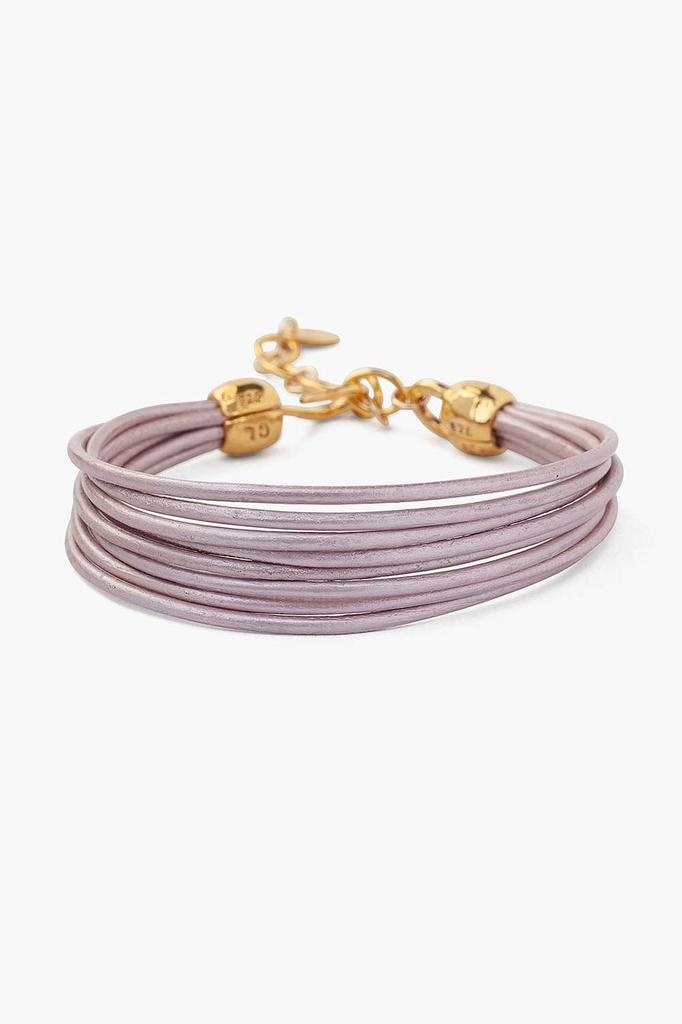 Chan Luu Chan Luu 18K gold plated over sterling silver leather cord bracelet suraiya pink