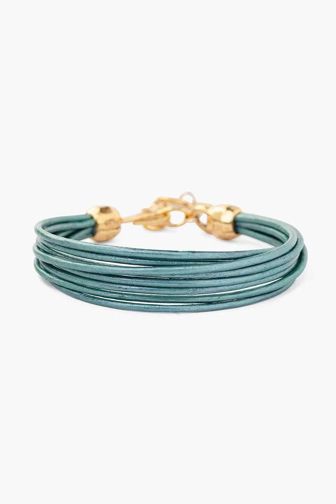 Chan Luu Chan Luu 18K gold plated over sterling silver leather cord bracelet truly teal