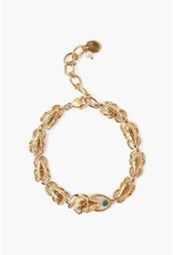 Chan Luu Chan Luu 18K yellow gold plated over sterling silver scarab bracelet with turquoise