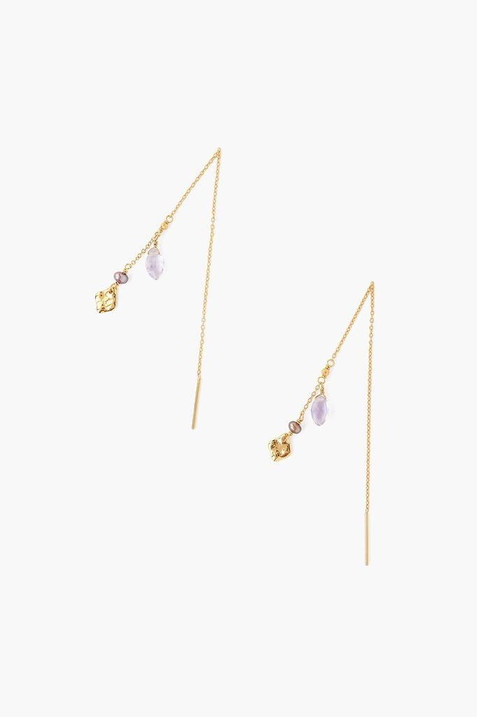 Chan Luu Chan Luu 18K gold plated over sterling silver pull through earrings with semi-precious stones