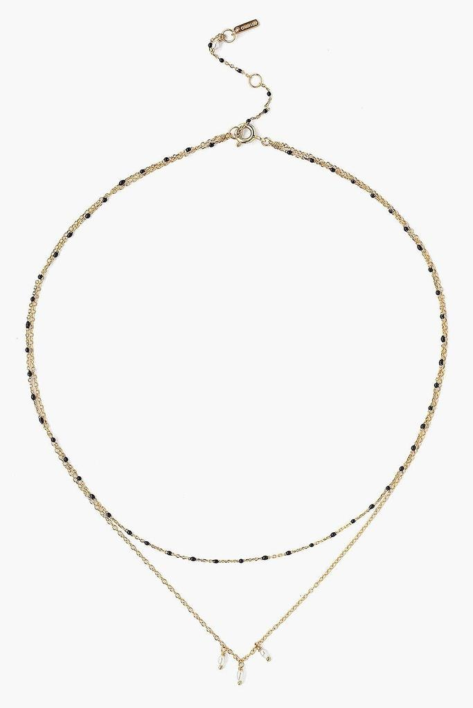 Chan Luu Black Enamel Bead And White Pearl Layer Necklace