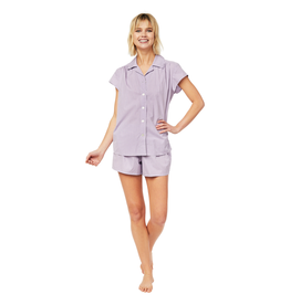 Cat's Pajamas Cat's Pajamas Lavender Check Luxe Pima Short Set