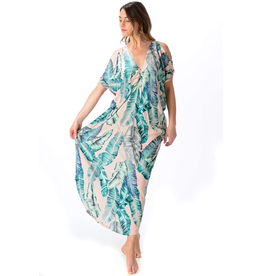 Walker & Wade Walker & Wade palm beach pink banana leaf kaftan
