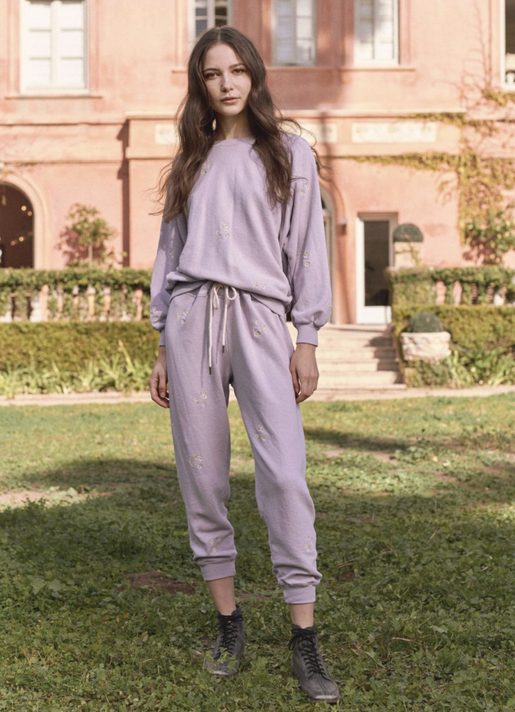 The Great The Great Cropped Sweatpant With Daisy Bouquet Embroidery