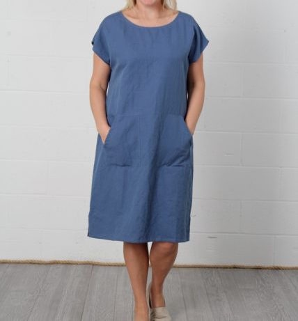 Vikolino Vikolino 100% European Washed Linen Short Sleeve Tunic Dress