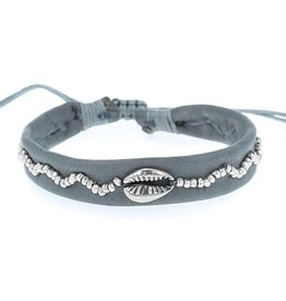 Chan Luu Chan Luu Blue Grey Leather With Sterling Silver Cowry Shell Bracelet