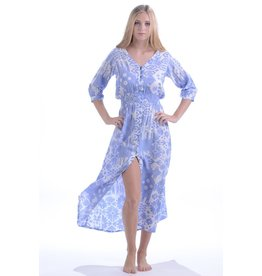 Walker & Wade Walker & Wade Kelsey Long Dress, Ikat Periwinkle