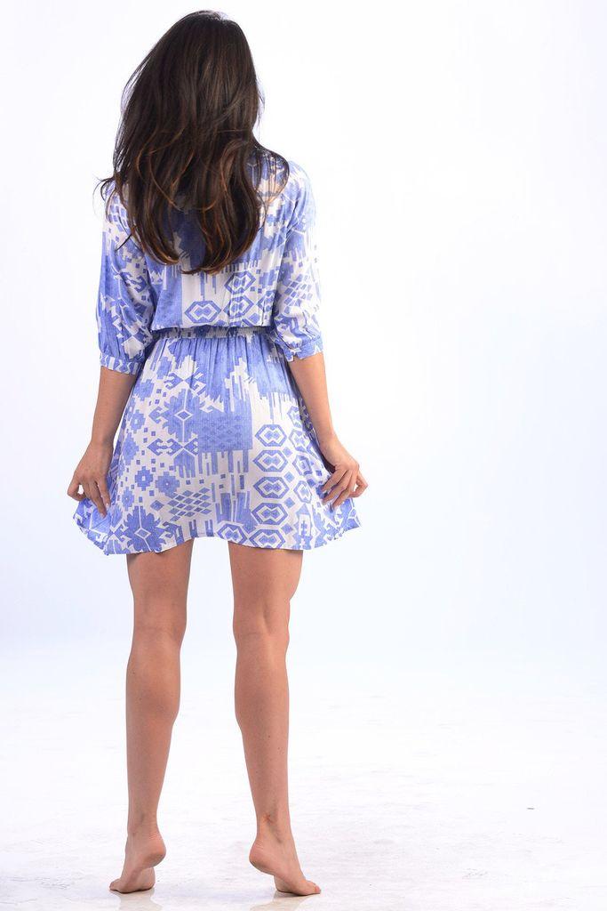 Walker & Wade Kelsey Short Dress Periwinkle Ikat