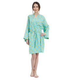 Mahogany Mahogany 100% Cotton Short Robe, Pinapple Turquoise