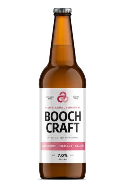 Booch Craft High Alcohol Grapefruit Hibiscus Heather Kombucha ABV 7% 22 OZ