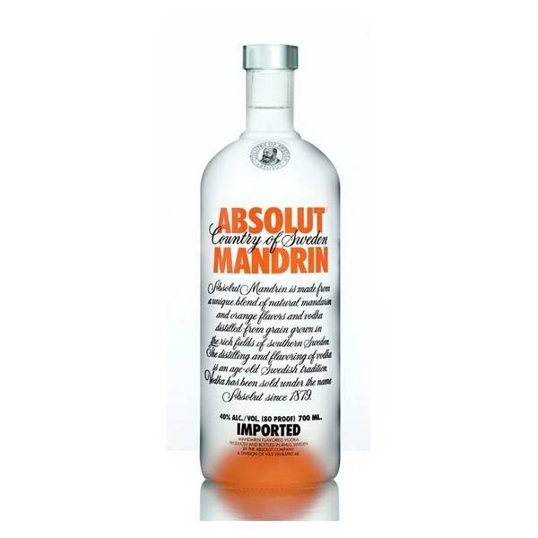 Absolut Mandrin Vodka ABV: 40%  200 mL