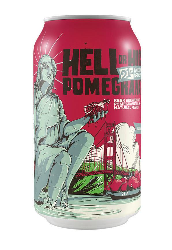 21st Amendment Hell or High Pomegranate ABV 4.9% 6 packs
