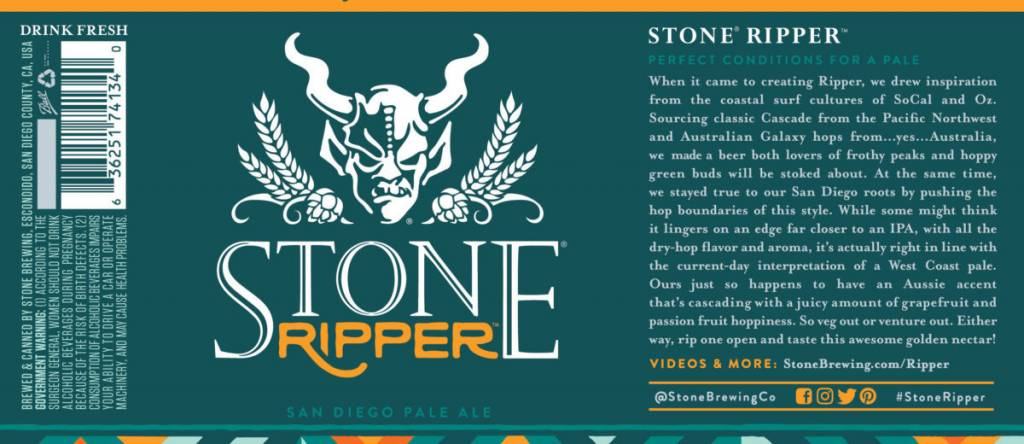 Stone Brewing Ripper San Diego Pale Ale ABV 5.7% 6 Packs