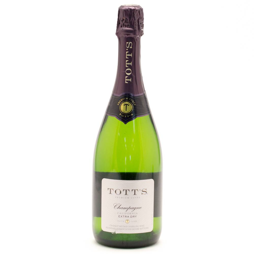 Totts Extra Dry Champagne ABV: 10.5%  750ml