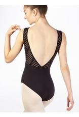 Mirella Sheer Ladder Mesh Deep Vee Back Tank Leotard