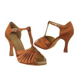 Very Fine Dance Shoes SERA2707 Dark Tan Satin - 8.5